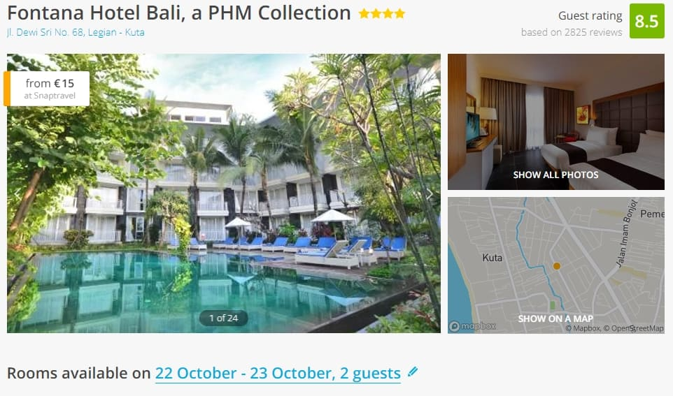 Top Rated 4 Fontana Hotel Bali Only 15 Per Night Room